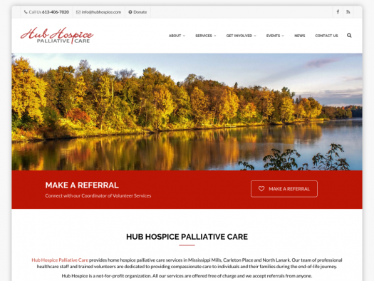 hub hospice palliative care website design